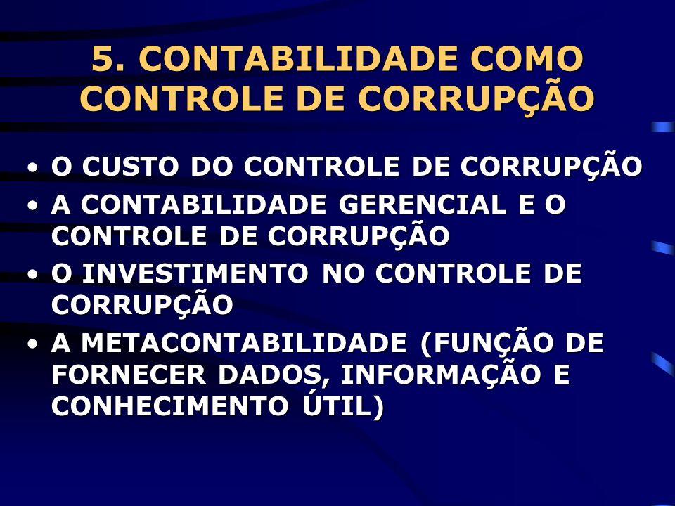 5. CONTABILIDADE COMO CONTROLE DE CORRUPÇÃO O CUSTO DO CONTROLE DE CORRUPÇÃOO CUSTO DO CONTROLE DE CORRUPÇÃO A CONTABILIDADE GERENCIAL E O CONTROLE DE