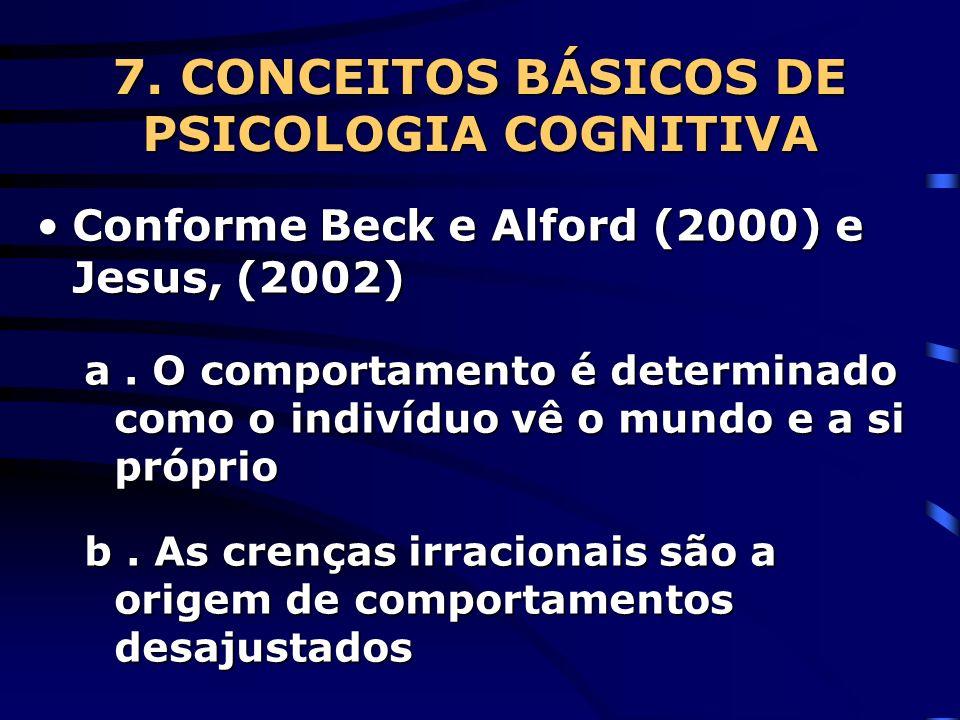 7. CONCEITOS BÁSICOS DE PSICOLOGIA COGNITIVA Conforme Beck e Alford (2000) e Jesus, (2002)Conforme Beck e Alford (2000) e Jesus, (2002) a. O comportam
