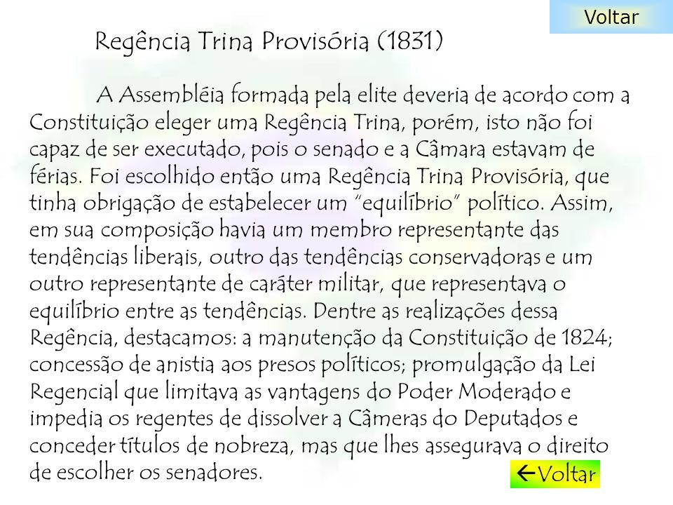 Regência Trina Provisória (1831) A Assembléia formada pela elite deveria de acordo com a Constituição eleger uma Regência Trina, porém, isto não foi c