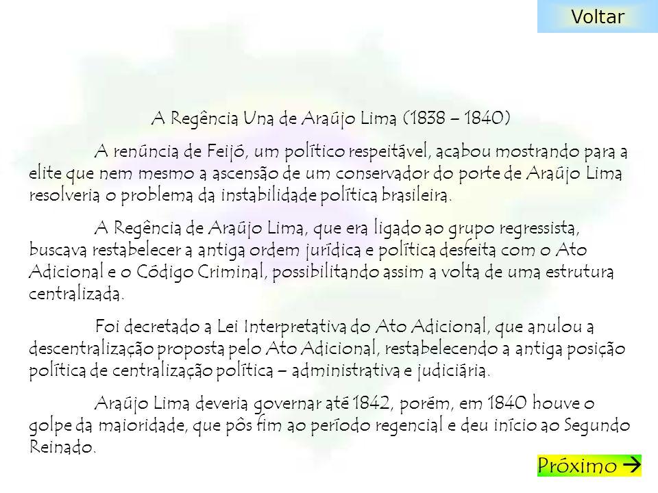A Regência Una de Araújo Lima (1838 – 1840) A renúncia de Feijó, um político respeitável, acabou mostrando para a elite que nem mesmo a ascensão de um