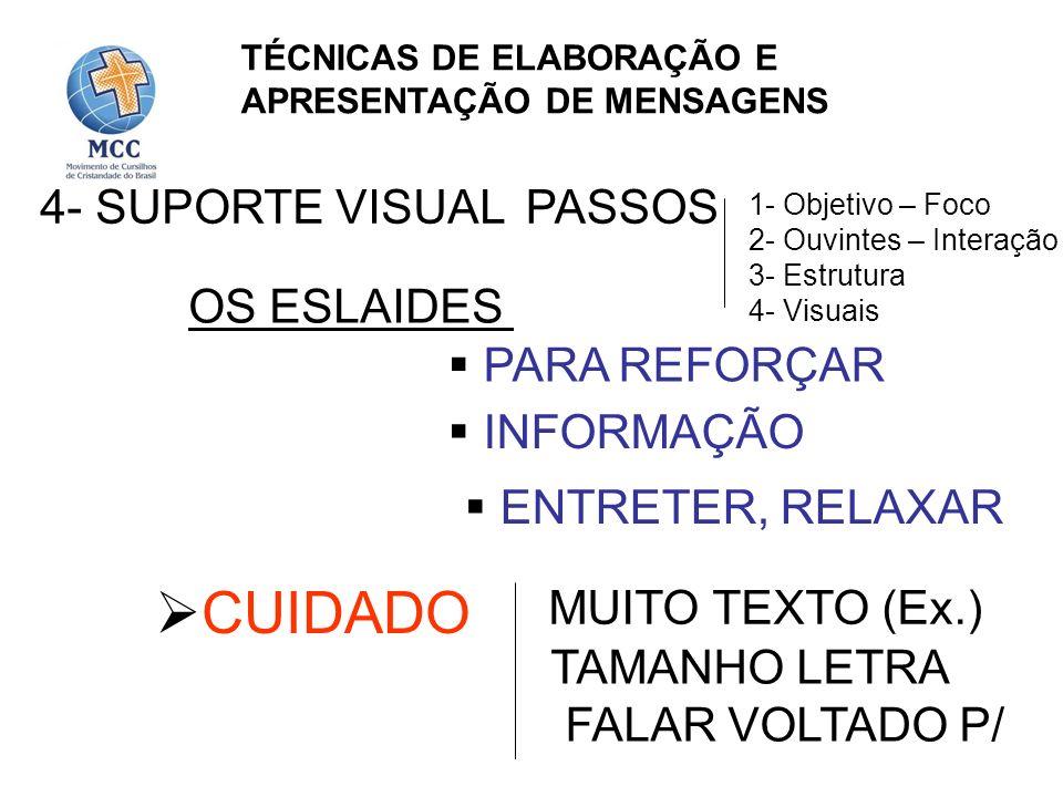 4- SUPORTE VISUAL OS ESLAIDES PARA REFORÇAR INFORMAÇÃO ENTRETER, RELAXAR CUIDADO MUITO TEXTO (Ex.) TAMANHO LETRA FALAR VOLTADO P/ PASSOS 1- Objetivo –