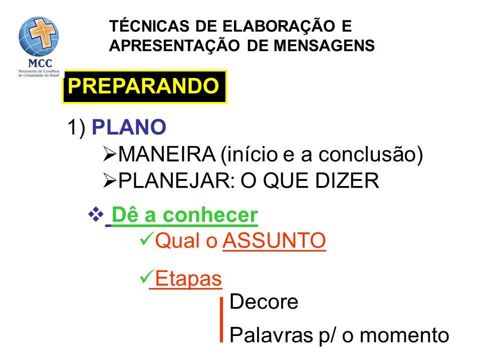PREPARANDO 1) PLANO PLANEJAR: O QUE DIZER MANEIRA (início e a conclusão) Dê a conhecer Qual o ASSUNTO Decore Palavras p/ o momento Etapas TÉCNICAS DE