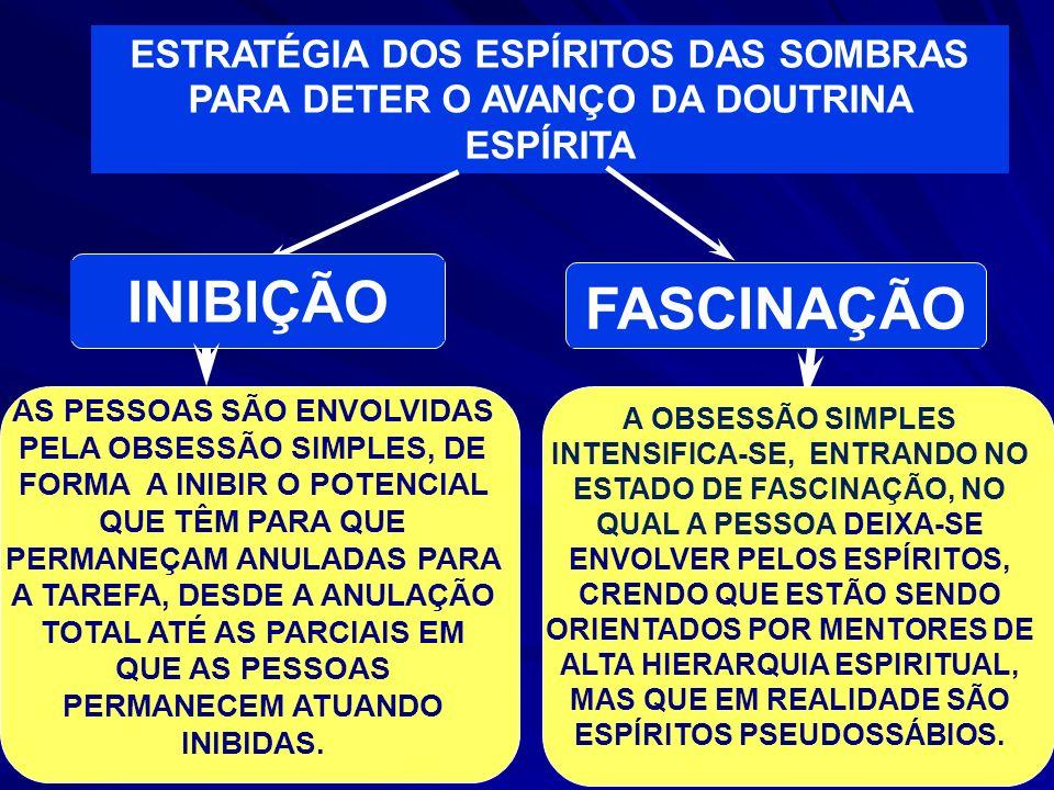 ESTRATÉGIA DOS ESPÍRITOS DAS SOMBRAS PARA DETER O AVANÇO DA DOUTRINA ESPÍRITA INIBIÇÃO FASCINAÇÃO AS PESSOAS SÃO ENVOLVIDAS PELA OBSESSÃO SIMPLES, DE