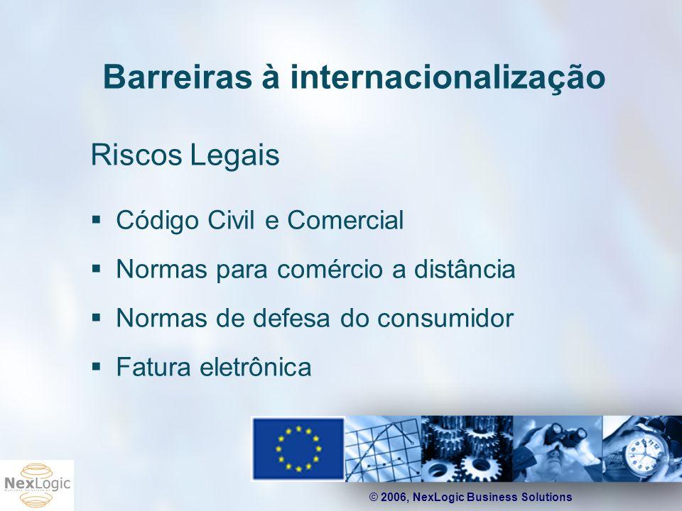 © 2006, NexLogic Business Solutions Barreiras à internacionalização Riscos Legais Código Civil e Comercial Normas para comércio a distância Normas de