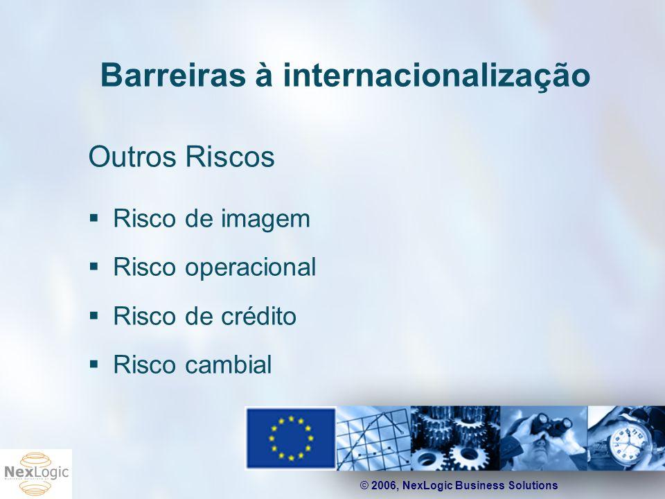 © 2006, NexLogic Business Solutions Barreiras à internacionalização Outros Riscos Risco de imagem Risco operacional Risco de crédito Risco cambial