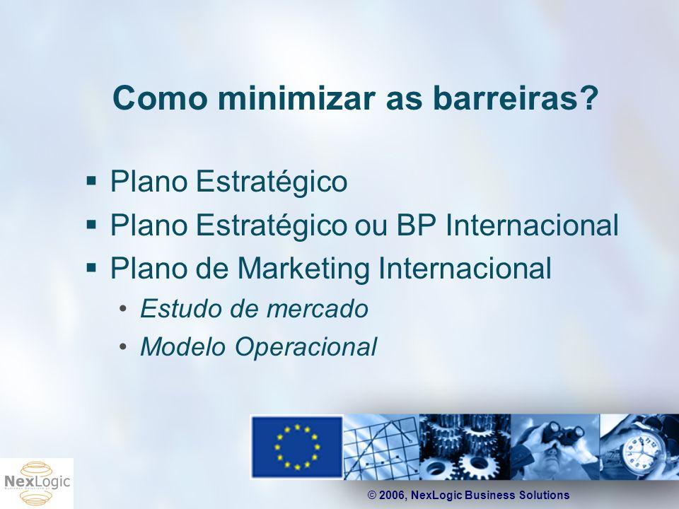 © 2006, NexLogic Business Solutions Como minimizar as barreiras? Plano Estratégico Plano Estratégico ou BP Internacional Plano de Marketing Internacio