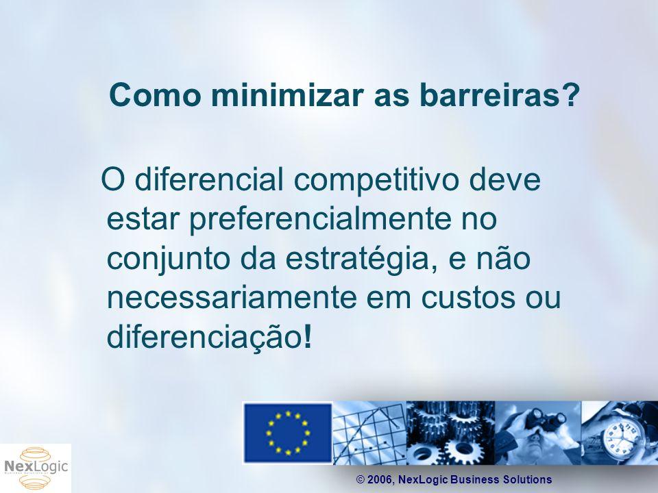 © 2006, NexLogic Business Solutions Como minimizar as barreiras? O diferencial competitivo deve estar preferencialmente no conjunto da estratégia, e n