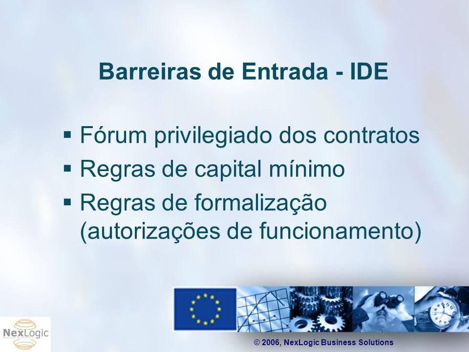 © 2006, NexLogic Business Solutions Barreiras de Entrada - IDE Fórum privilegiado dos contratos Regras de capital mínimo Regras de formalização (autor