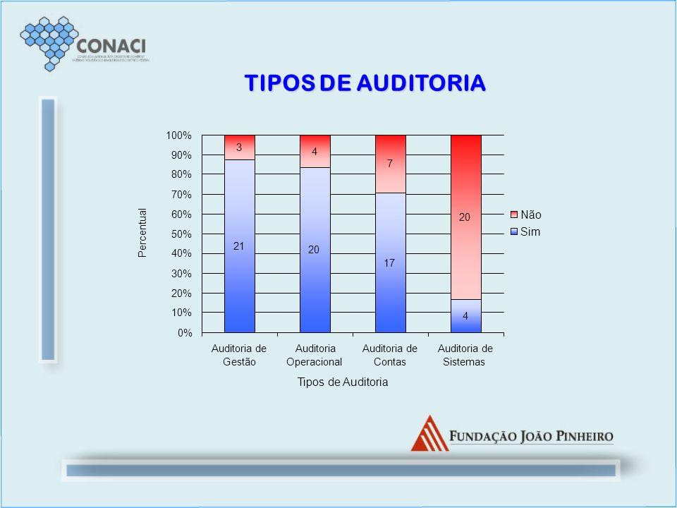 TIPOS DE AUDITORIA 21 20 17 4 3 4 7 20 0% 10% 20% 30% 40% 50% 60% 70% 80% 90% 100% Auditoria de Gestão Auditoria Operacional Auditoria de Contas Audit