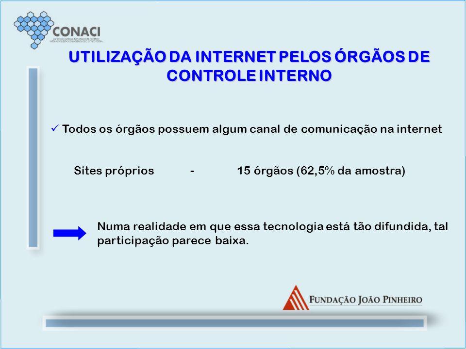 UTILIZAÇÃO DA INTERNET PELOS ÓRGÃOS DE CONTROLE INTERNO Todos os órgãos possuem algum canal de comunicação na internet Sites próprios -15 órgãos (62,5