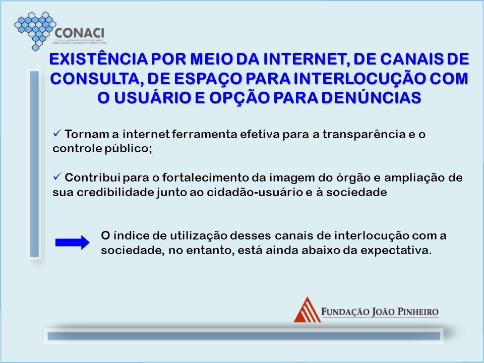 EXISTÊNCIA POR MEIO DA INTERNET, DE CANAIS DE CONSULTA, DE ESPAÇO PARA INTERLOCUÇÃO COM O USUÁRIO E OPÇÃO PARA DENÚNCIAS Tornam a internet ferramenta