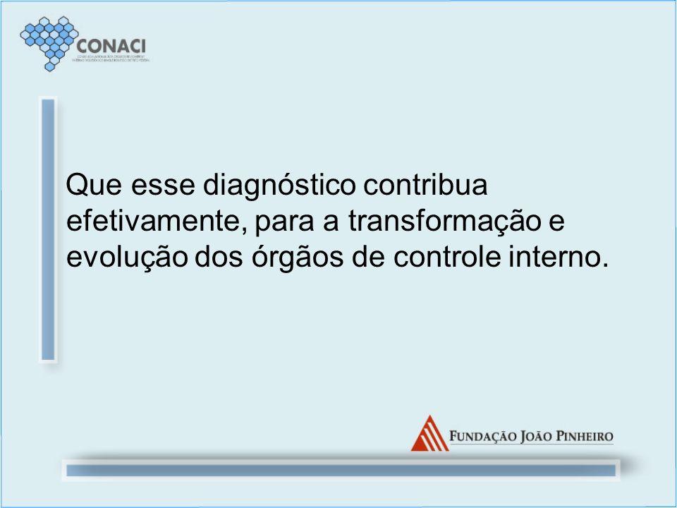 Que esse diagnóstico contribua efetivamente, para a transformação e evolução dos órgãos de controle interno.