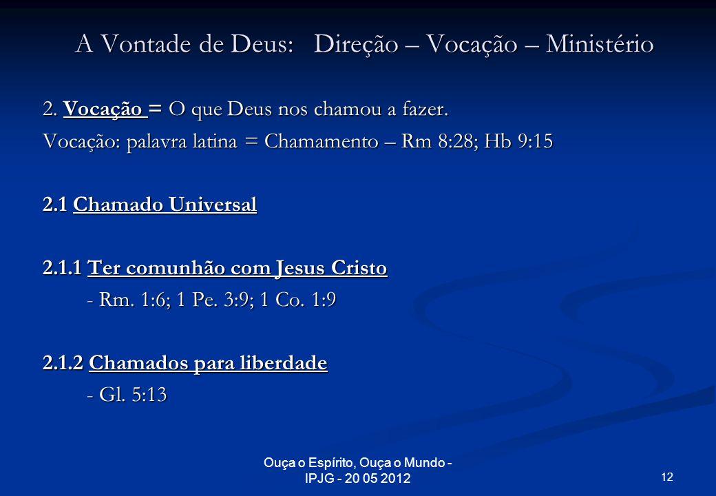 Ouça o Espírito, Ouça o Mundo - IPJG - 20 05 2012 A Vontade de Deus: Direção – Vocação – Ministério 2. Vocação = O que Deus nos chamou a fazer. Vocaçã