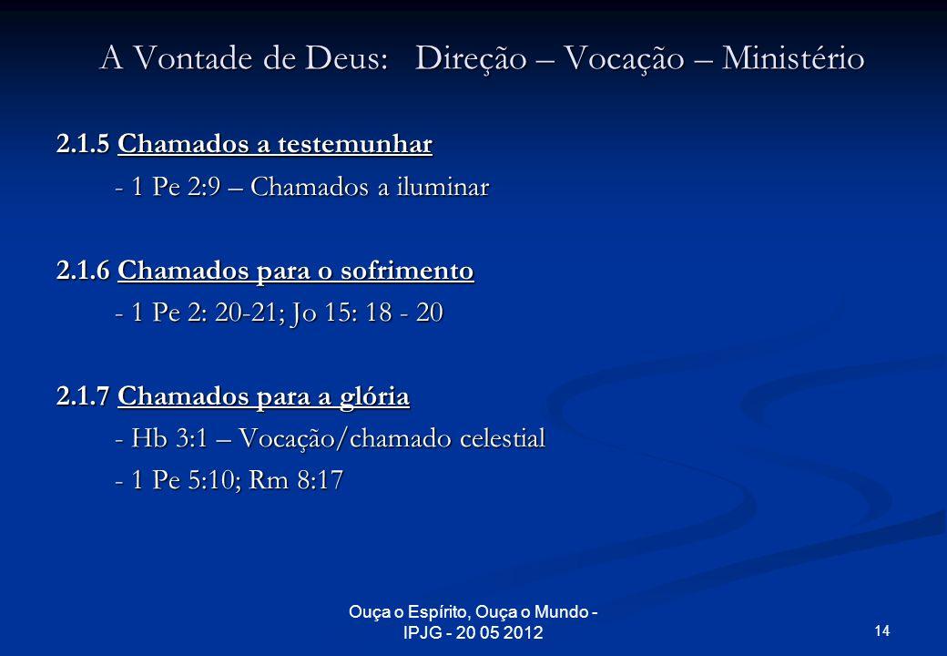Ouça o Espírito, Ouça o Mundo - IPJG - 20 05 2012 A Vontade de Deus: Direção – Vocação – Ministério 2.1.5 Chamados a testemunhar - 1 Pe 2:9 – Chamados