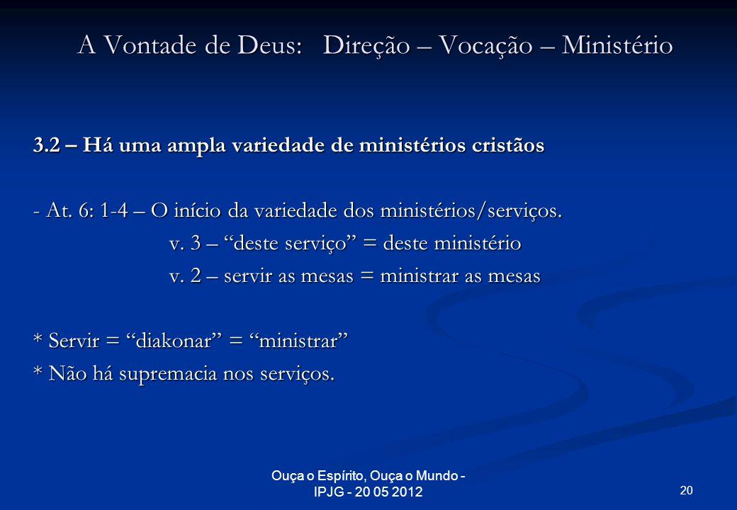 Ouça o Espírito, Ouça o Mundo - IPJG - 20 05 2012 A Vontade de Deus: Direção – Vocação – Ministério 3.2 – Há uma ampla variedade de ministérios cristã
