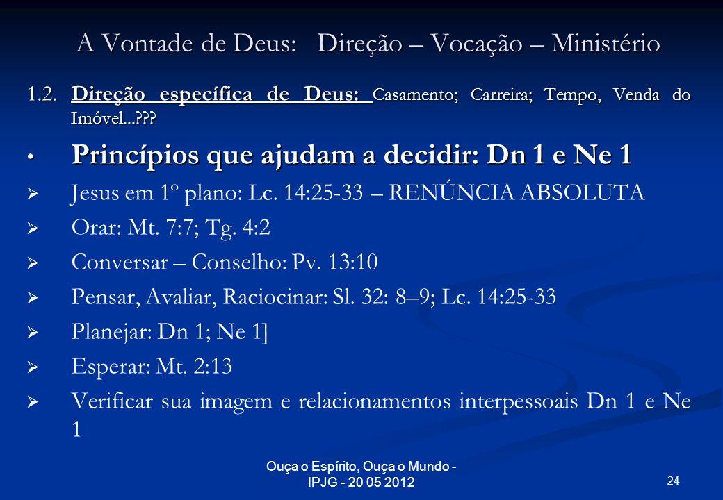A Vontade de Deus: Direção – Vocação – Ministério 1.2. Direção específica de Deus: Casamento; Carreira; Tempo, Venda do Imóvel...??? Princípios que aj