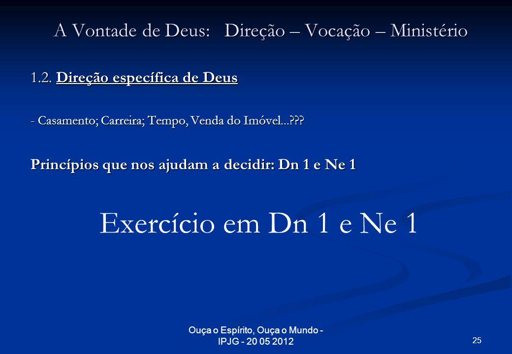 Ouça o Espírito, Ouça o Mundo - IPJG - 20 05 2012 A Vontade de Deus: Direção – Vocação – Ministério 1.2. Direção específica de Deus - Casamento; Carre