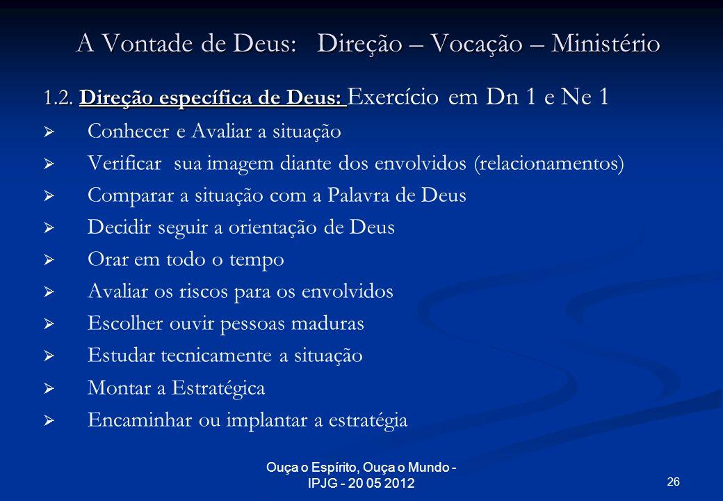Ouça o Espírito, Ouça o Mundo - IPJG - 20 05 2012 A Vontade de Deus: Direção – Vocação – Ministério 1.2. Direção específica de Deus: 1.2. Direção espe