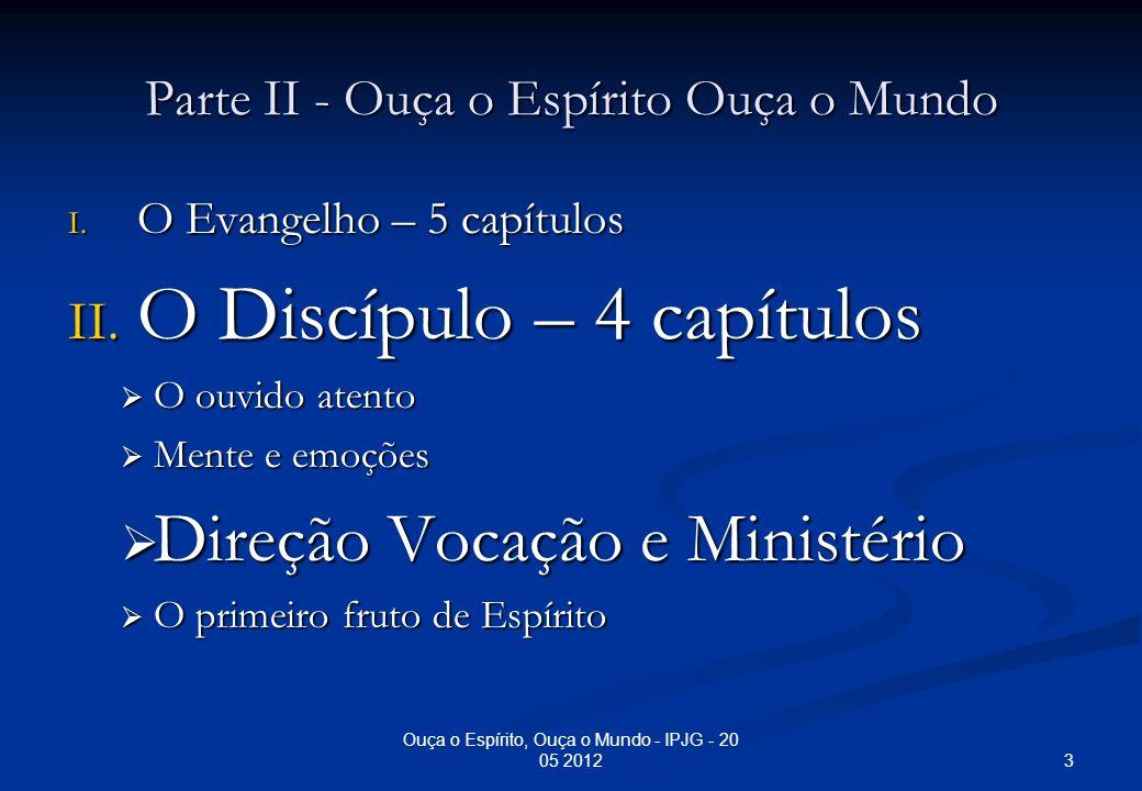 Ouça o Espírito, Ouça o Mundo - IPJG - 20 05 2012 A Vontade de Deus: Direção – Vocação – Ministério 2.1.5 Chamados a testemunhar - 1 Pe 2:9 – Chamados a iluminar 2.1.6 Chamados para o sofrimento - 1 Pe 2: 20-21; Jo 15: 18 - 20 2.1.7 Chamados para a glória - Hb 3:1 – Vocação/chamado celestial - 1 Pe 5:10; Rm 8:17 14