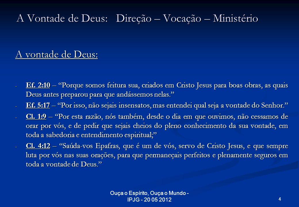 Ouça o Espírito, Ouça o Mundo - IPJG - 20 05 2012 A Vontade de Deus: Direção – Vocação – Ministério 2.1 Vocação ou Chamado Universal: 1.