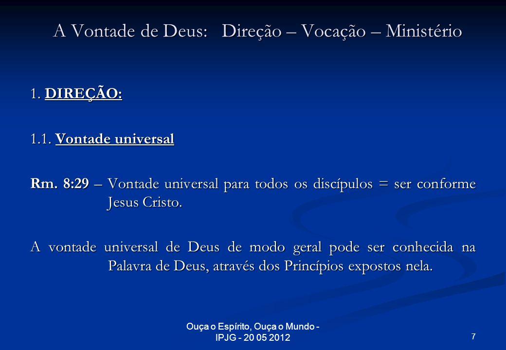 Ouça o Espírito, Ouça o Mundo - IPJG - 20 05 2012 A Vontade de Deus: Direção – Vocação – Ministério 1. DIREÇÃO: 1.1. Vontade universal Rm. 8:29 – Vont