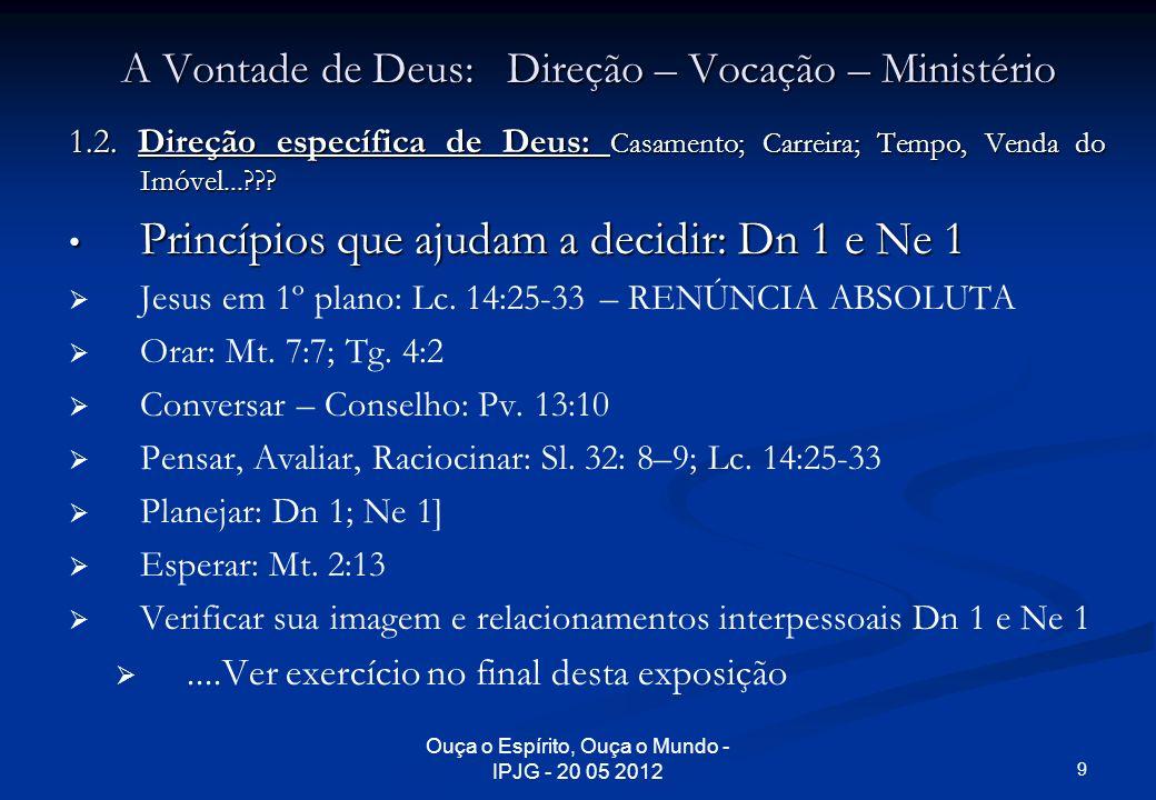 Ouça o Espírito, Ouça o Mundo - IPJG - 20 05 2012 A Vontade de Deus: Direção – Vocação – Ministério 1.2. Direção específica de Deus: Casamento; Carrei