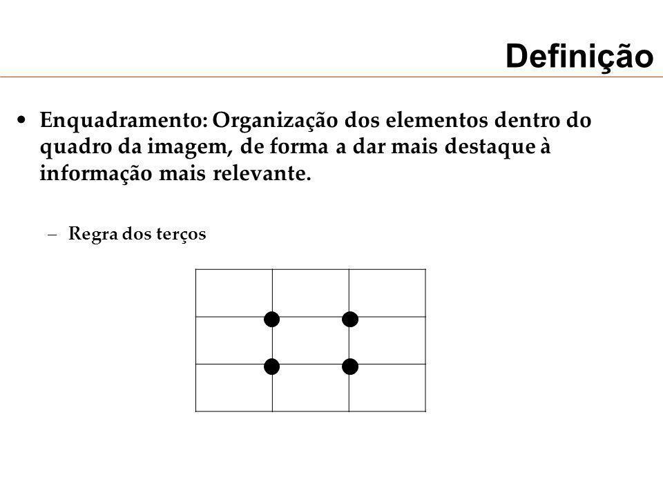 Definição Enquadramento: Organização dos elementos dentro do quadro da imagem, de forma a dar mais destaque à informação mais relevante. –Regra dos te