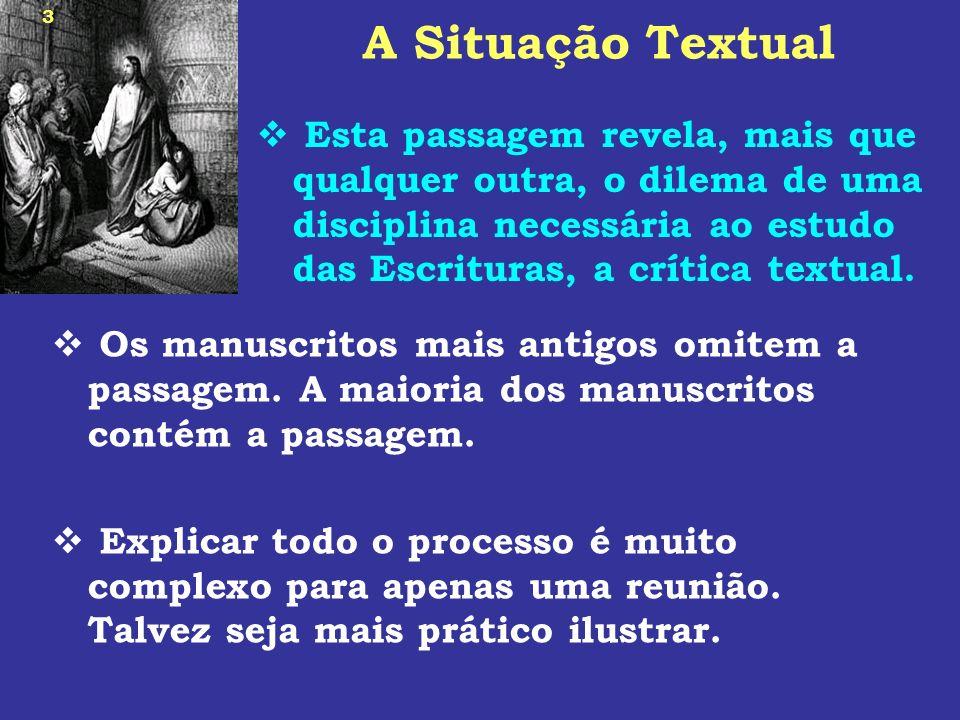 14 Os Argumentos Para a Inclusão Há uma dependência textual entre os principais manuscritos que não contêm a passagem.