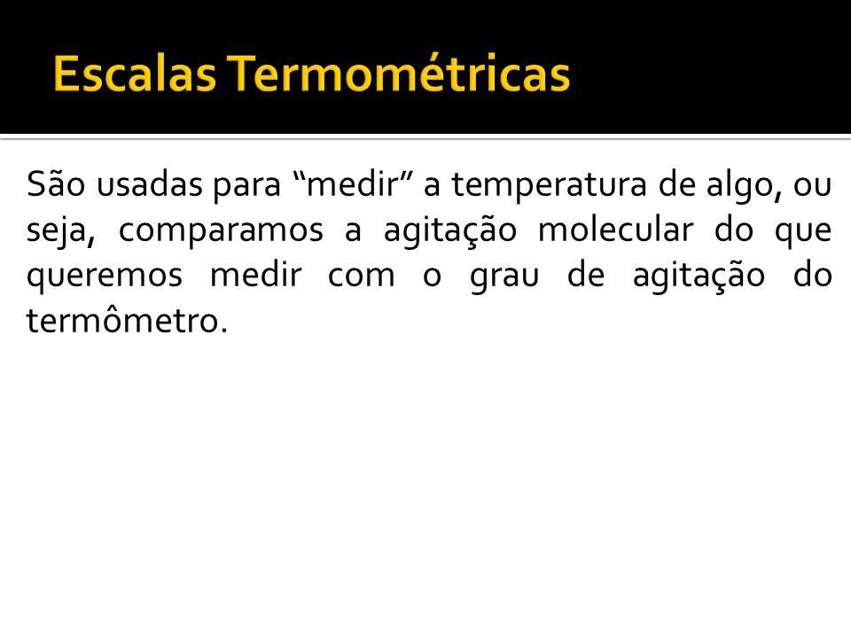 Escala Celsius 1742 – Anders Celsius Adotou o valor zero graus para o ponto de fusão da água Adotou o valor 100 graus para o ponto de ebulição da água O intervalo entre este dois valores foi dividido em 100 partes, cada parte foi chamada de grau