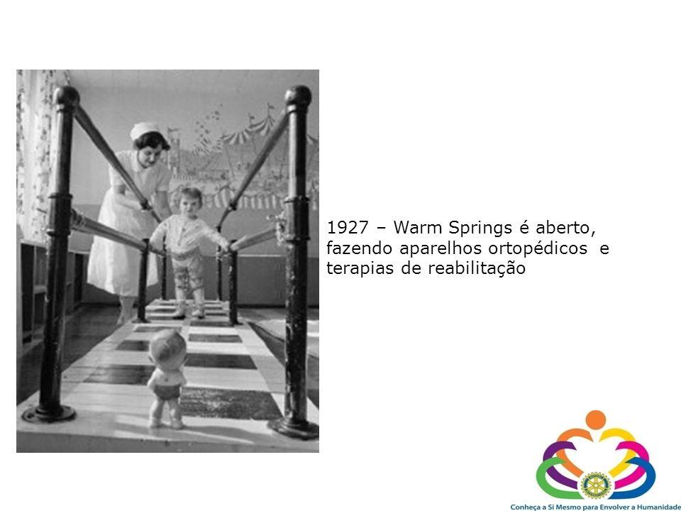 1927 – Warm Springs é aberto, fazendo aparelhos ortopédicos e terapias de reabilitação