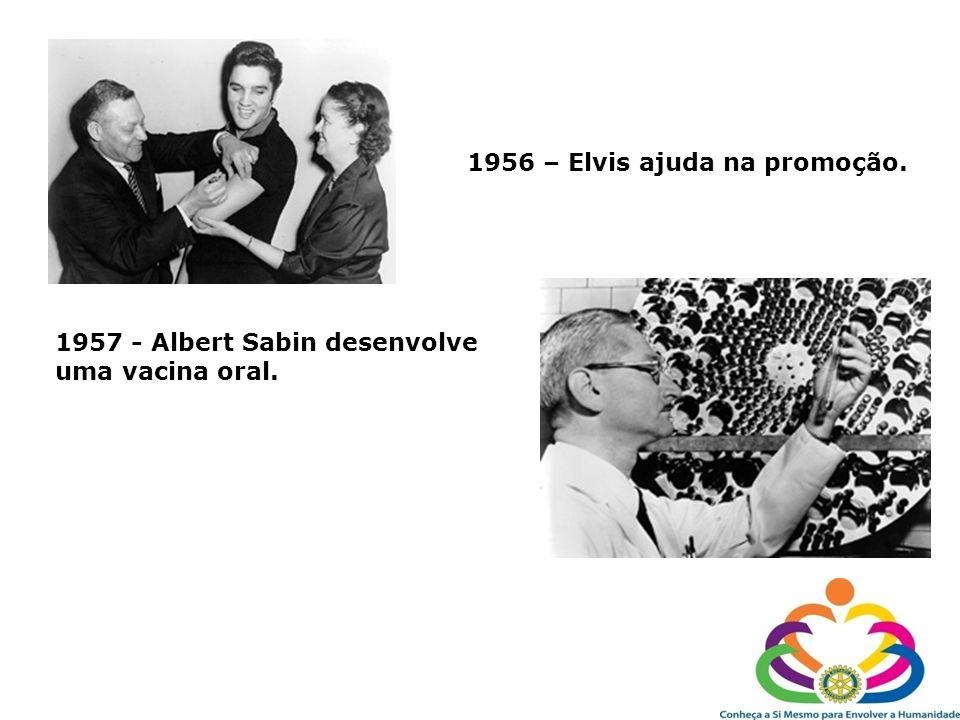 1956 – Elvis ajuda na promoção. 1957 - Albert Sabin desenvolve uma vacina oral.
