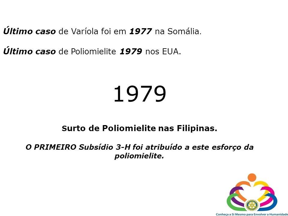 Último caso de Varíola foi em 1977 na Somália. Último caso de Poliomielite 1979 nos EUA. 1979 S urto de Poliomielite nas Filipinas. O PRIMEIRO Subsídi