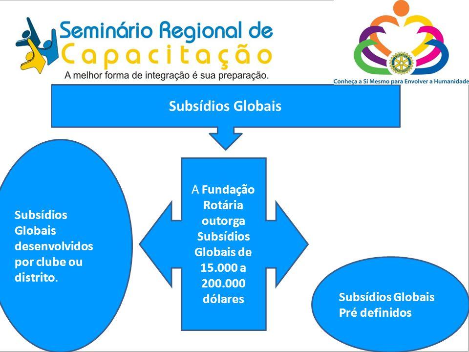Subsídios Globais A Fundação Rotária outorga Subsídios Globais de 15.000 a 200.000 dólares Subsídios Globais desenvolvidos por clube ou distrito. Subs