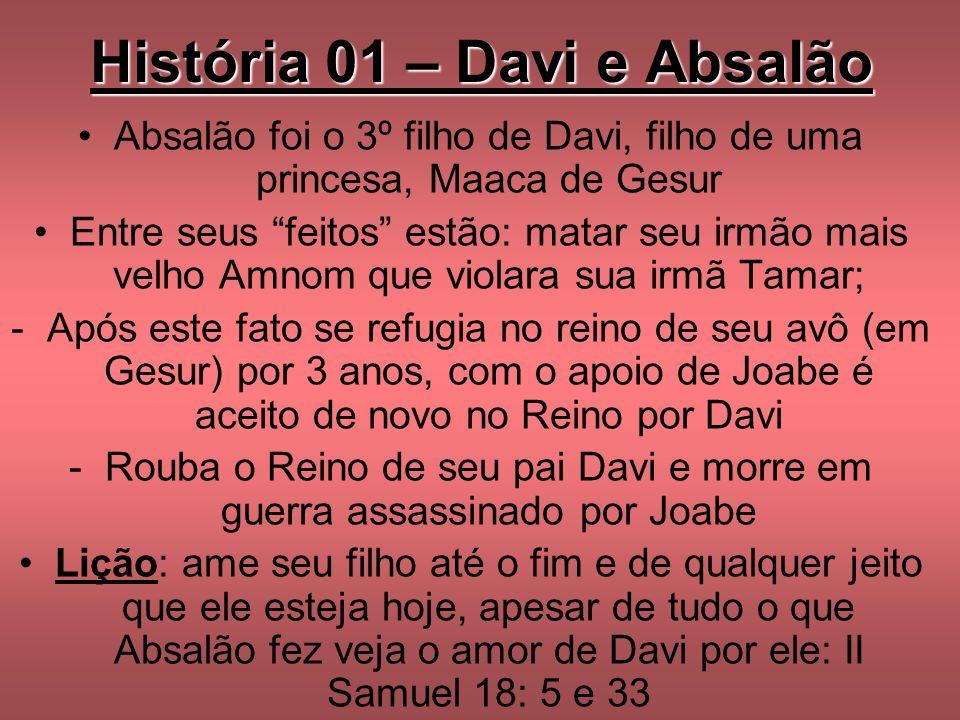 História 01 – Davi e Absalão Absalão foi o 3º filho de Davi, filho de uma princesa, Maaca de Gesur Entre seus feitos estão: matar seu irmão mais velho