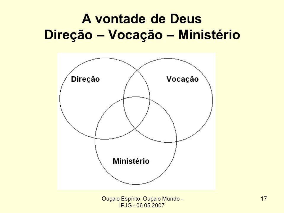 Ouça o Espírito, Ouça o Mundo - IPJG - 06 05 2007 17 A vontade de Deus Direção – Vocação – Ministério Direção