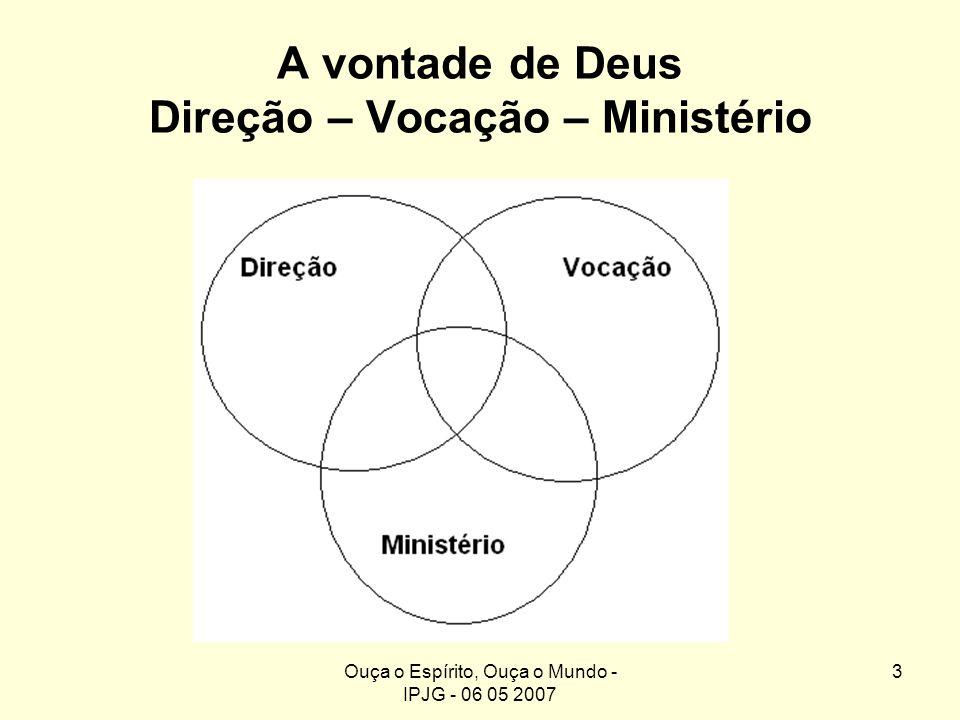 Ouça o Espírito, Ouça o Mundo - IPJG - 06 05 2007 3 A vontade de Deus Direção – Vocação – Ministério Direção