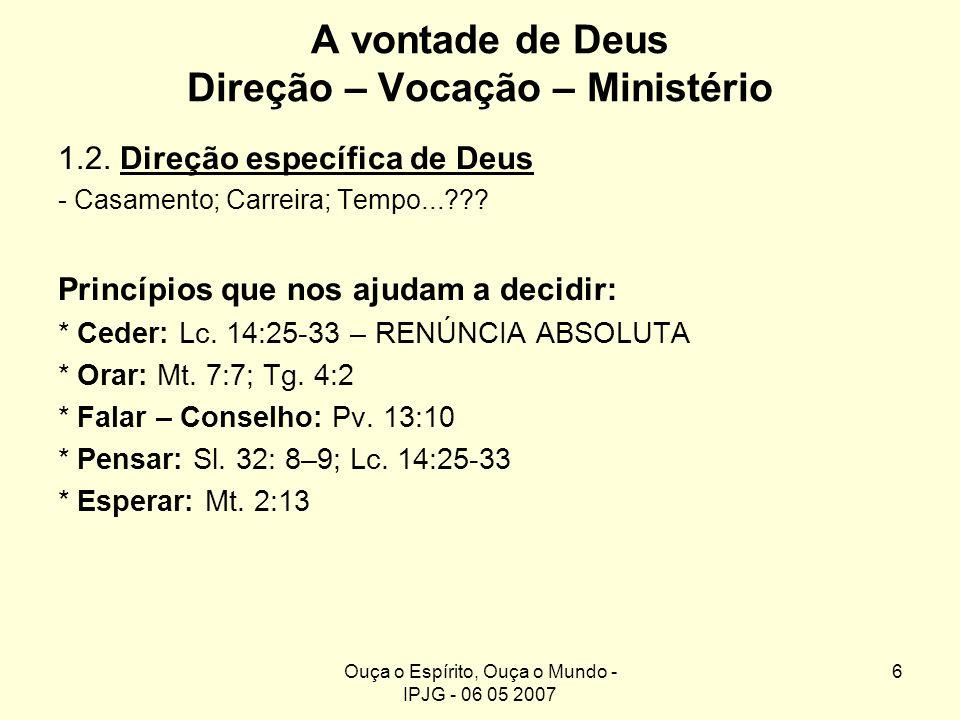 Ouça o Espírito, Ouça o Mundo - IPJG - 06 05 2007 6 A vontade de Deus Direção – Vocação – Ministério 1.2. Direção específica de Deus - Casamento; Carr