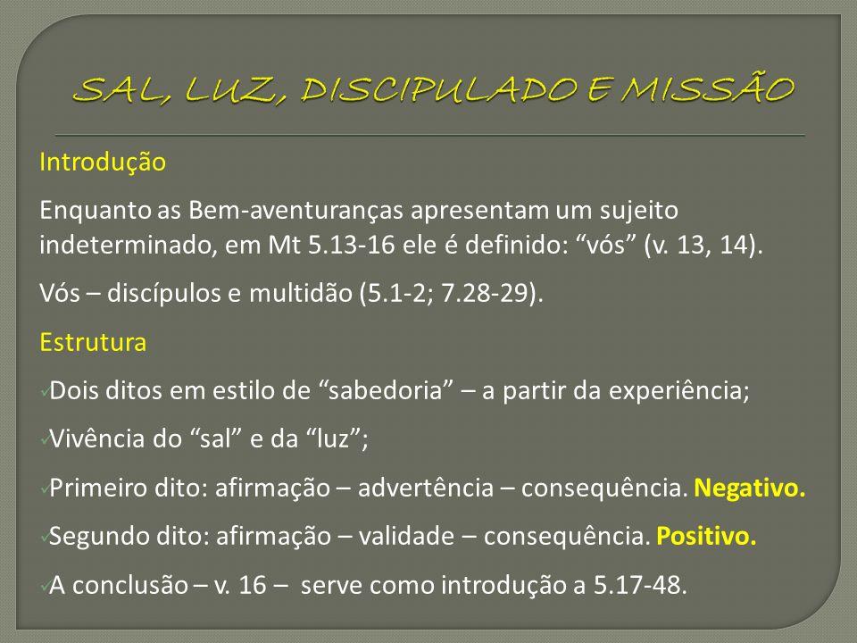 Introdução Enquanto as Bem-aventuranças apresentam um sujeito indeterminado, em Mt 5.13-16 ele é definido: vós (v. 13, 14). Vós – discípulos e multidã