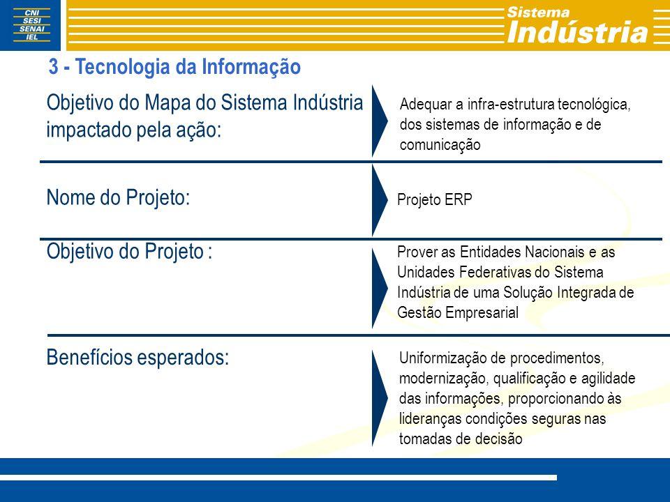 Adequar a infra-estrutura tecnológica, dos sistemas de informação e de comunicação Projeto ERP Prover as Entidades Nacionais e as Unidades Federativas