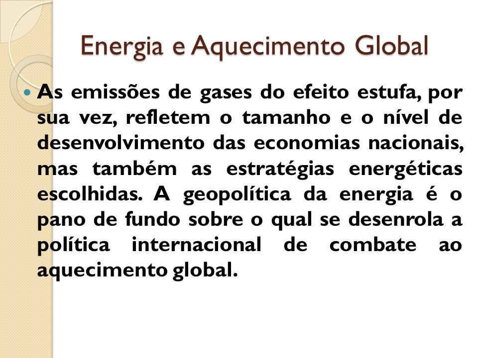 Energia e Aquecimento Global As emissões de gases do efeito estufa, por sua vez, refletem o tamanho e o nível de desenvolvimento das economias naciona