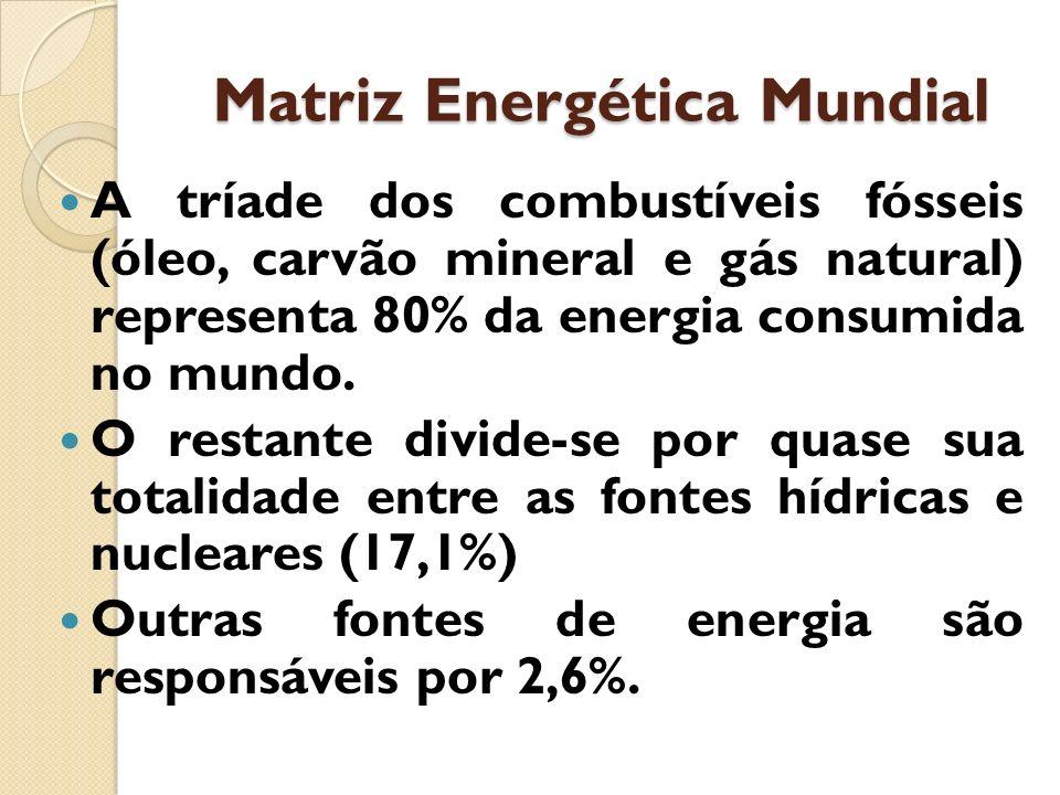 Matriz Energética Mundial A tríade dos combustíveis fósseis (óleo, carvão mineral e gás natural) representa 80% da energia consumida no mundo. O resta
