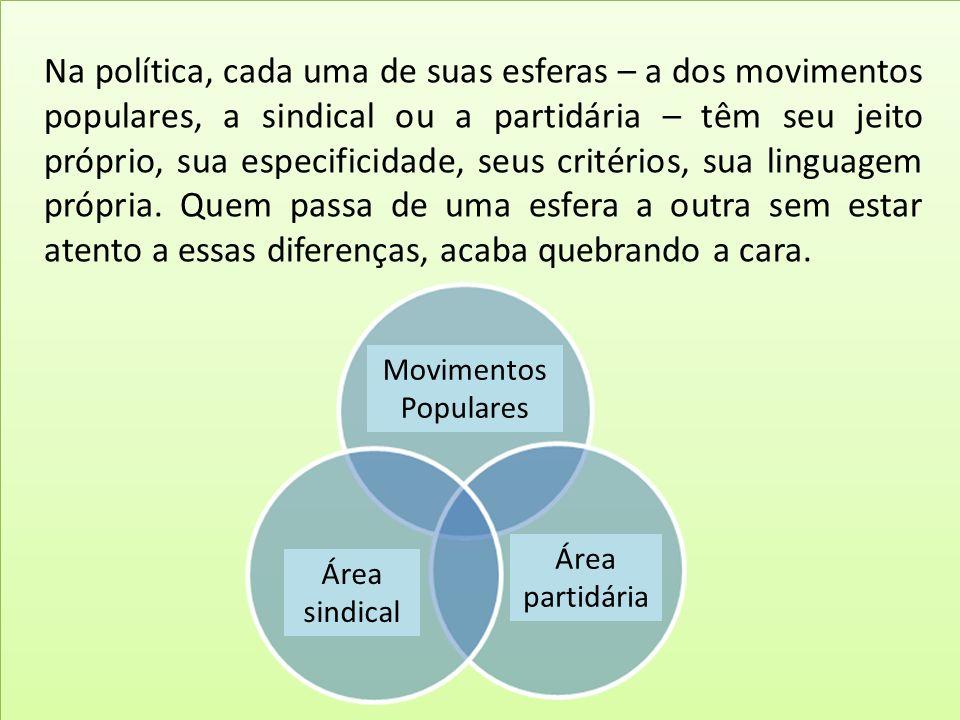 Na política, cada uma de suas esferas – a dos movimentos populares, a sindical ou a partidária – têm seu jeito próprio, sua especificidade, seus crité
