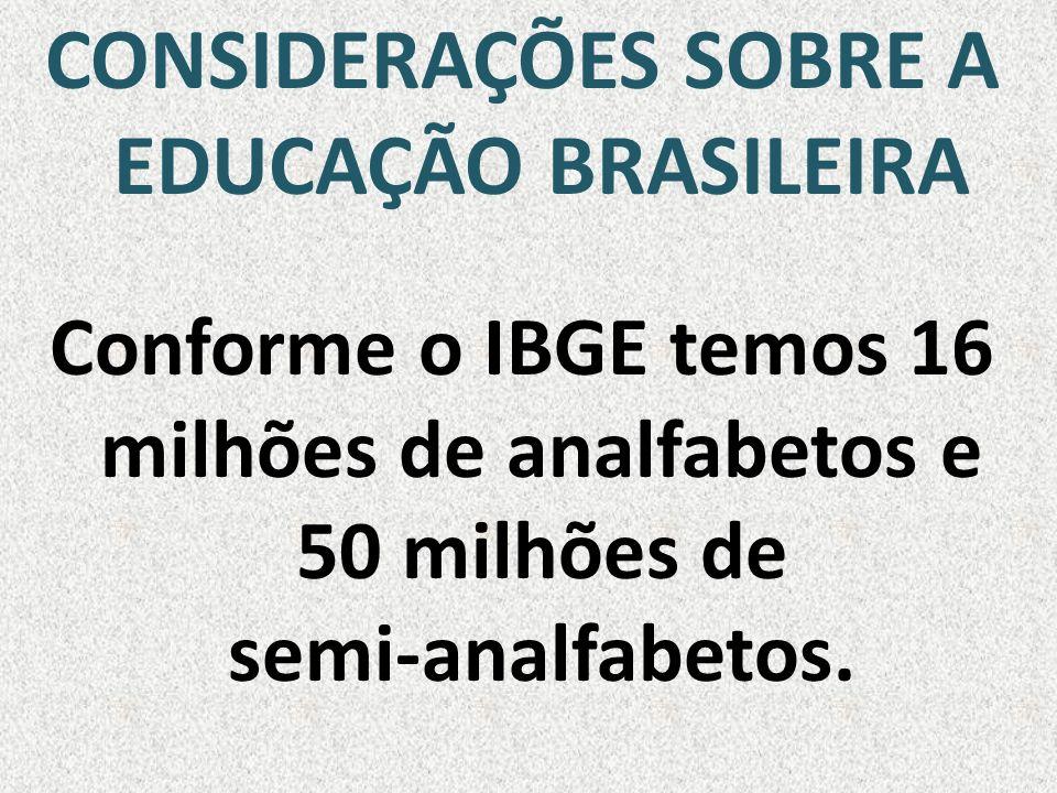 CONSIDERAÇÕES SOBRE A EDUCAÇÃO BRASILEIRA Conforme o IBGE temos 16 milhões de analfabetos e 50 milhões de semi-analfabetos.