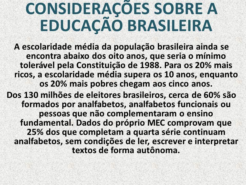 CONSIDERAÇÕES SOBRE A EDUCAÇÃO BRASILEIRA A escolaridade média da população brasileira ainda se encontra abaixo dos oito anos, que seria o mínimo tole
