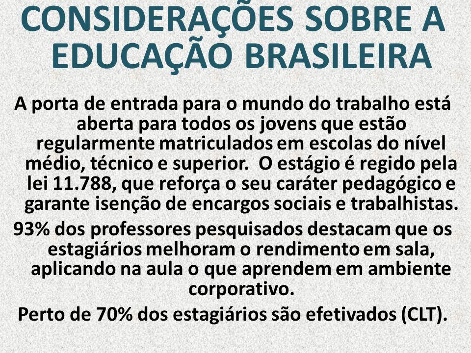 CONSIDERAÇÕES SOBRE A EDUCAÇÃO BRASILEIRA A porta de entrada para o mundo do trabalho está aberta para todos os jovens que estão regularmente matricul