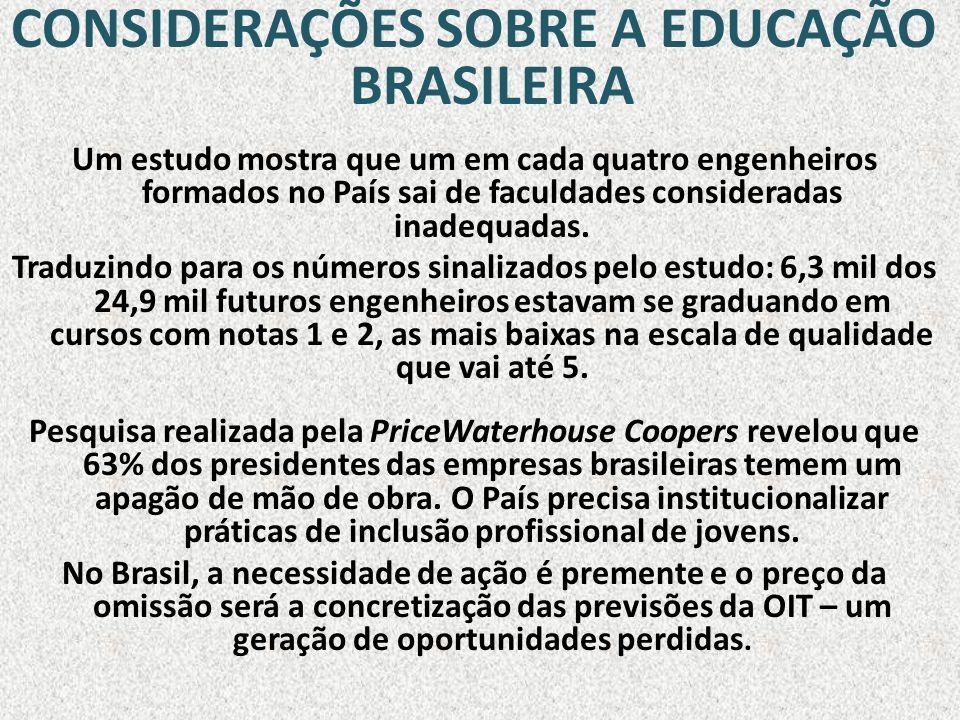 CONSIDERAÇÕES SOBRE A EDUCAÇÃO BRASILEIRA Um estudo mostra que um em cada quatro engenheiros formados no País sai de faculdades consideradas inadequad