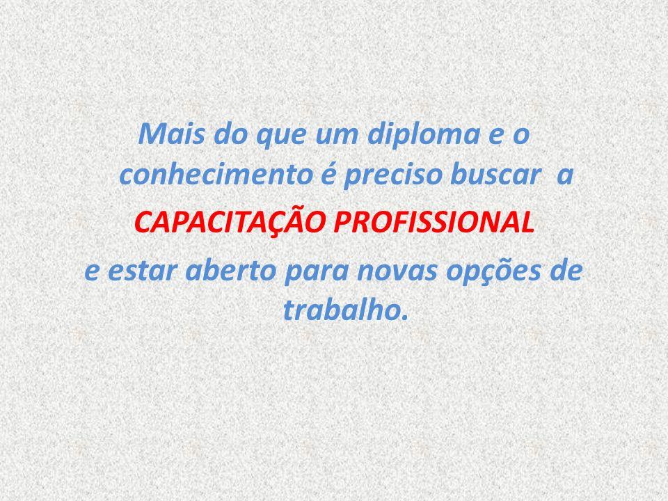 Mais do que um diploma e o conhecimento é preciso buscar a CAPACITAÇÃO PROFISSIONAL e estar aberto para novas opções de trabalho.