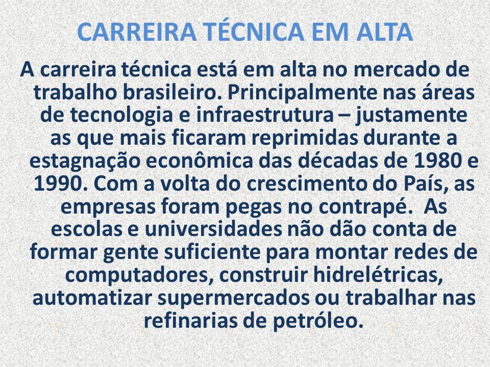 CARREIRA TÉCNICA EM ALTA A carreira técnica está em alta no mercado de trabalho brasileiro. Principalmente nas áreas de tecnologia e infraestrutura –