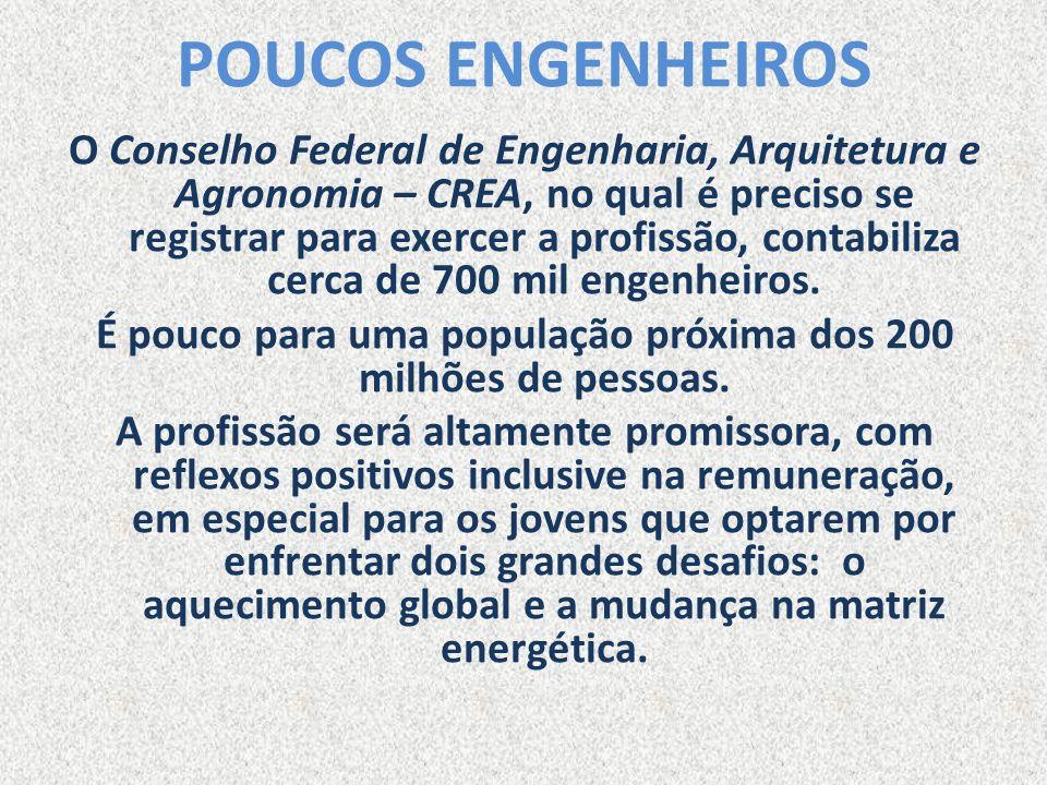 POUCOS ENGENHEIROS O Conselho Federal de Engenharia, Arquitetura e Agronomia – CREA, no qual é preciso se registrar para exercer a profissão, contabil