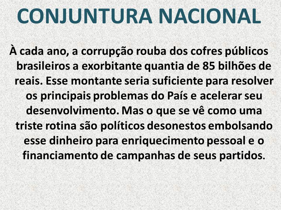 CONJUNTURA NACIONAL À cada ano, a corrupção rouba dos cofres públicos brasileiros a exorbitante quantia de 85 bilhões de reais. Esse montante seria su